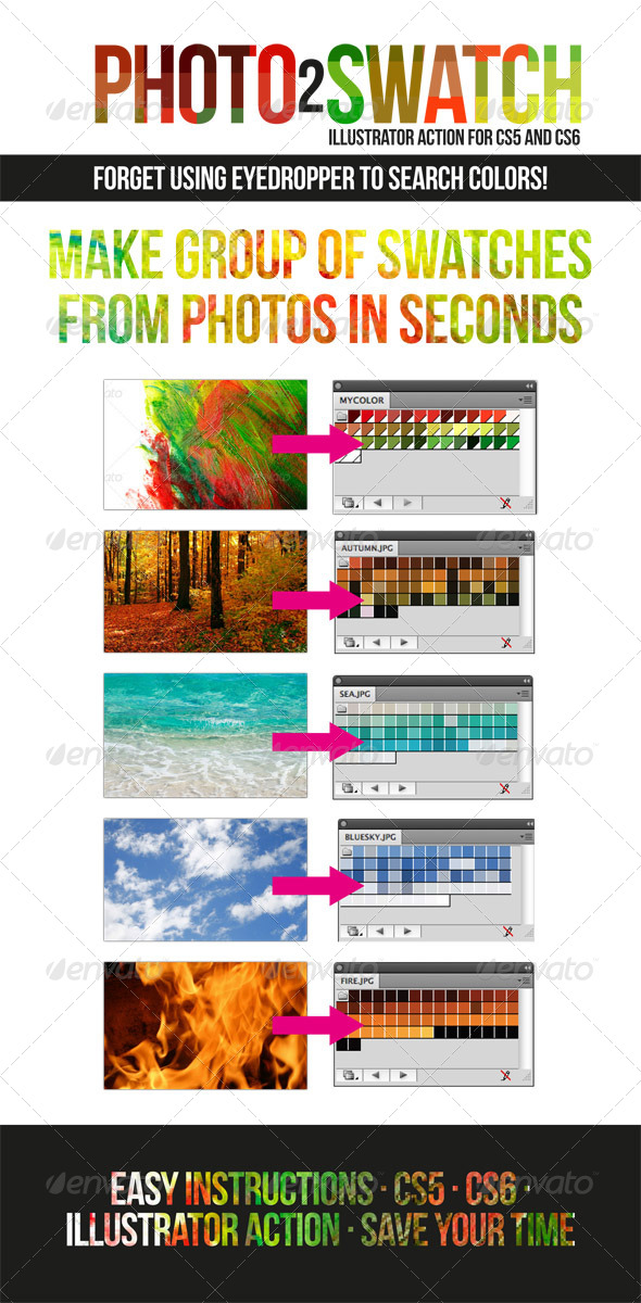 GraphicRiver Photo to Swatch Color Finder Illustrator Action 5461983