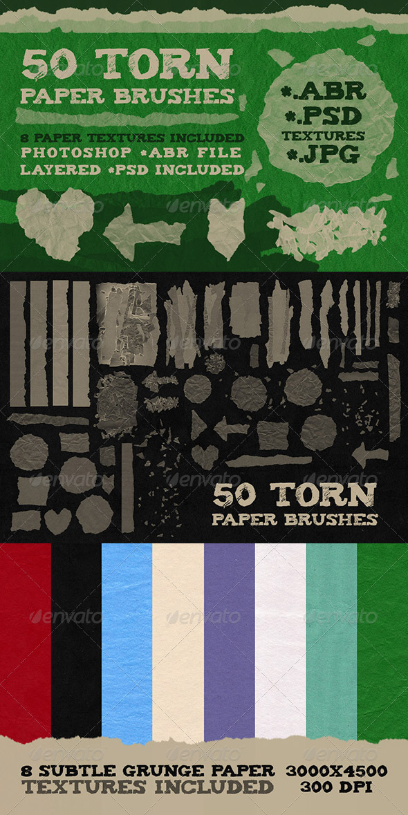 GraphicRiver 50 Torn Paper Brushes & 8 Textures 5462654