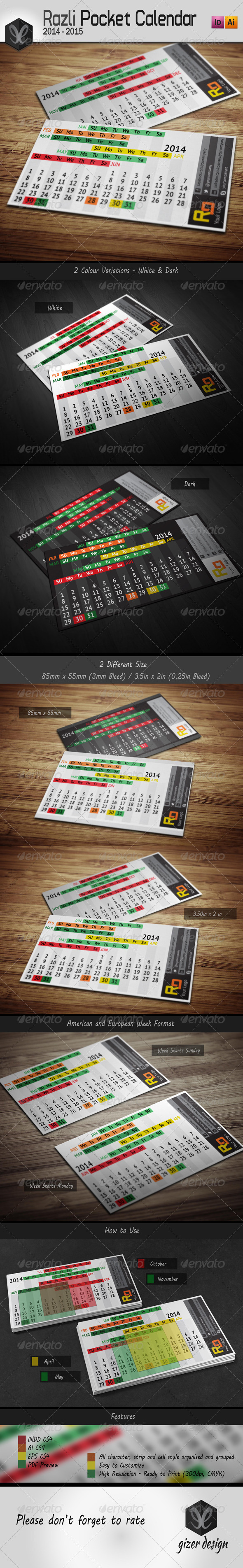 GraphicRiver Pocket Calendar 2014 2015 Razli 5448245