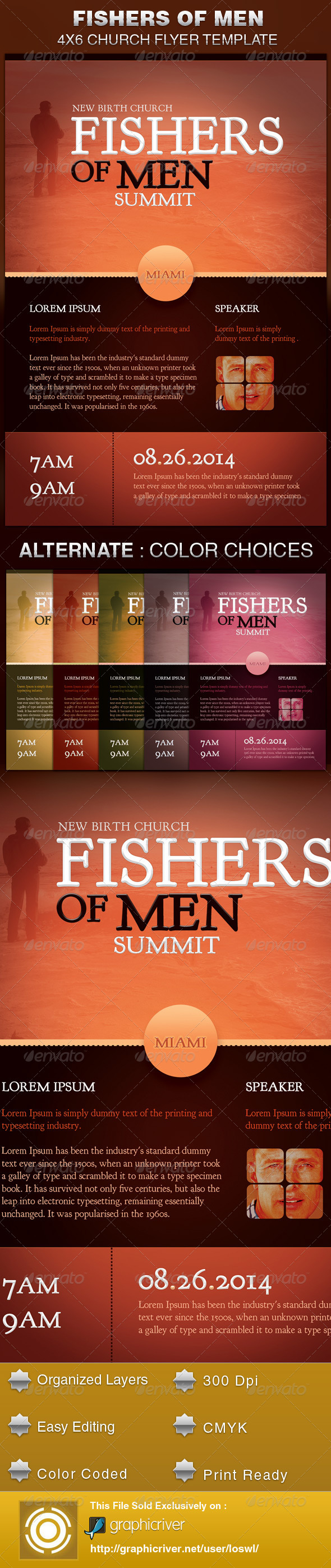 GraphicRiver Fishers of Men Church Flyer Template 5463880