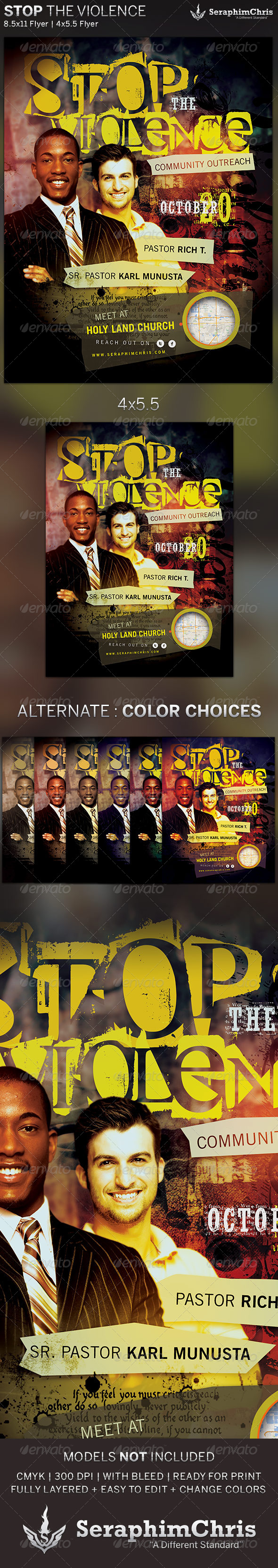 GraphicRiver Stop the Violence Church Flyer Template 5463975
