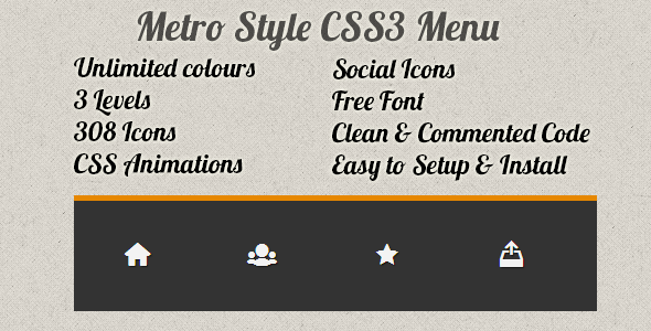 CodeCanyon Metro Style CSS3 Menu 5450956