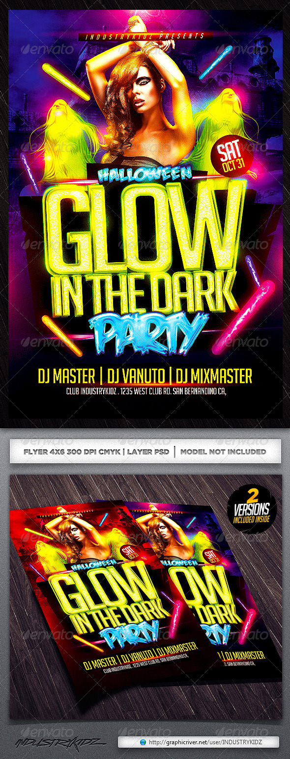 Glow in The Dark Halloween Flyer Template  - Clubs & Parties Events
