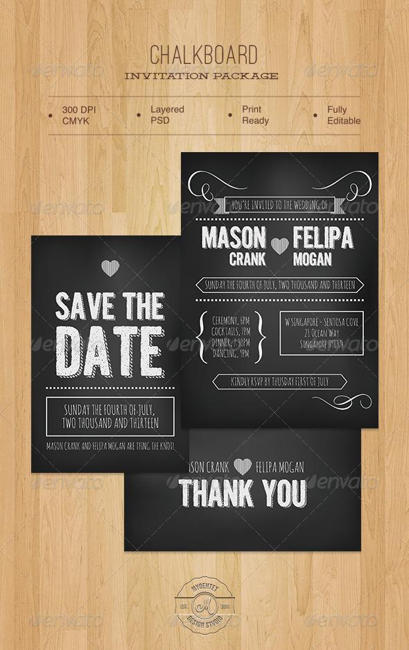 Chalkboard Invitation Package