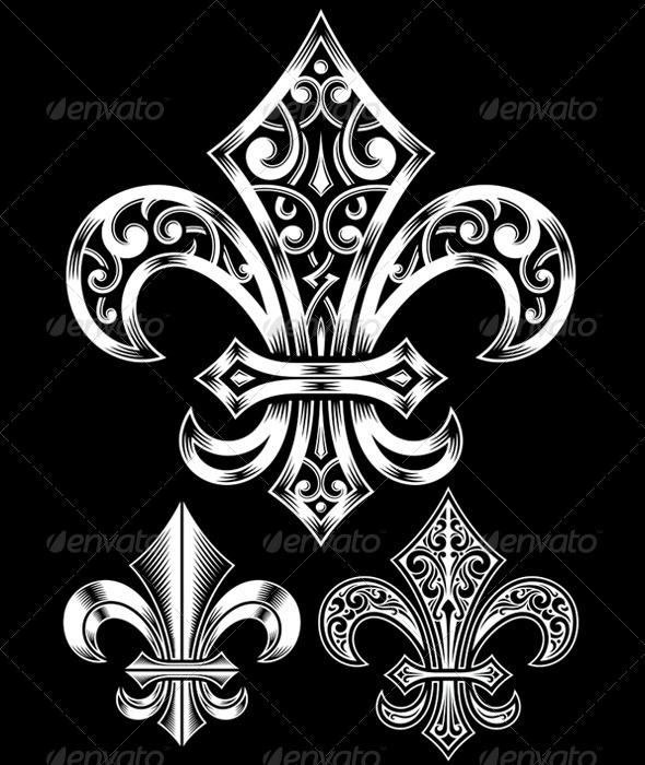 GraphicRiver Ornate Fleur De Lis Vector Set 5465717