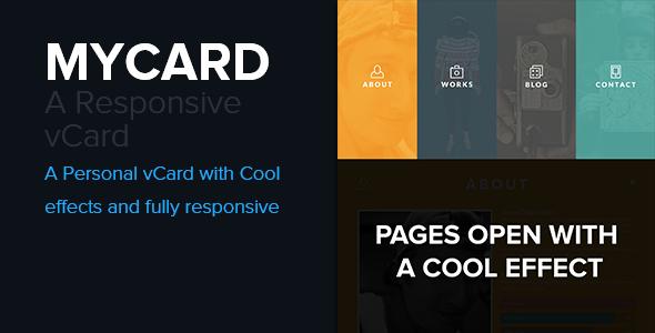 ThemeForest MYCARD Responsive Resume CV HTML5 Template 5435605