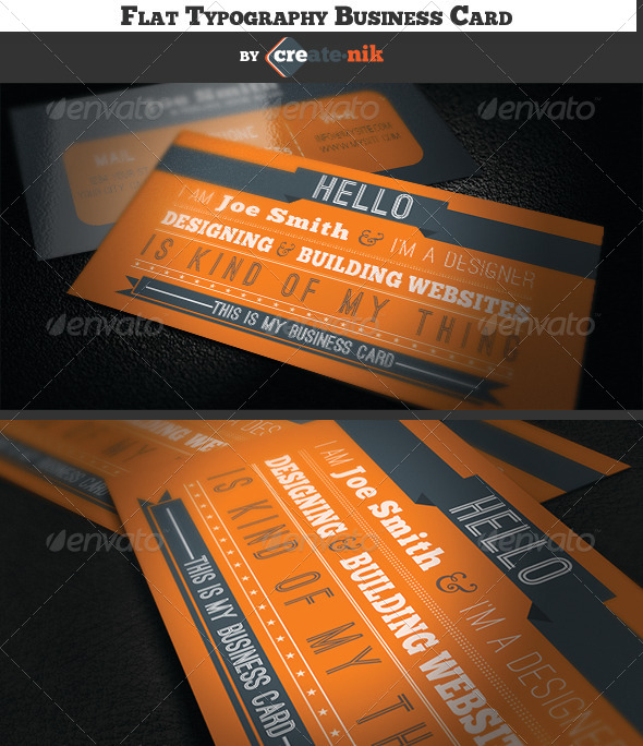 GraphicRiver Flat Design Typography Business Card 5466031
