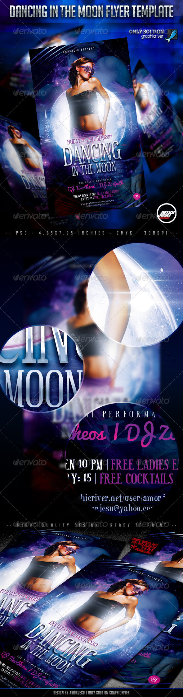 Dancing In The Moon Flyer Template - Clubs & Parties Events