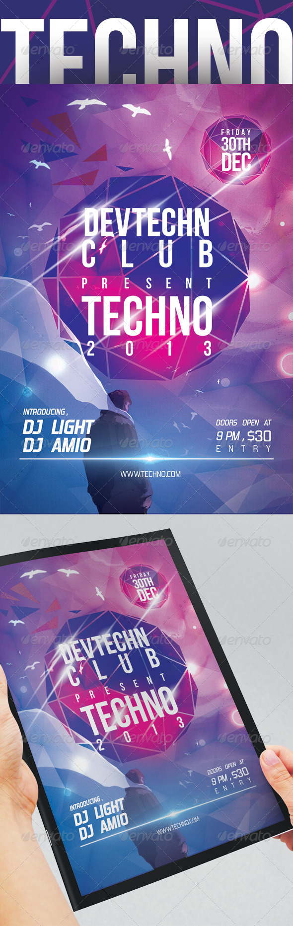 GraphicRiver Techno Party Flyer Templates 5445863