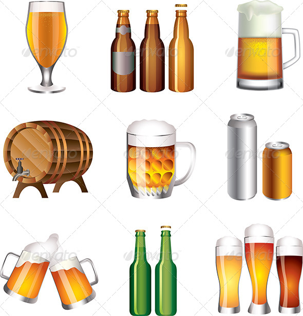 GraphicRiver Beer Bottles and Cups Vector Set 5435078