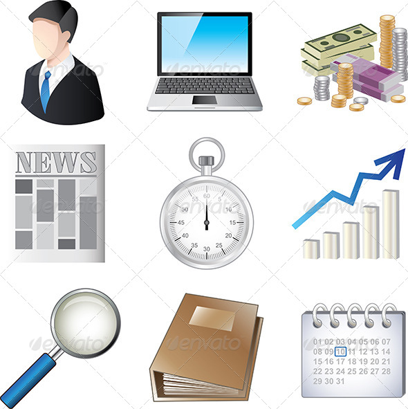 Business Icons Colorful Set