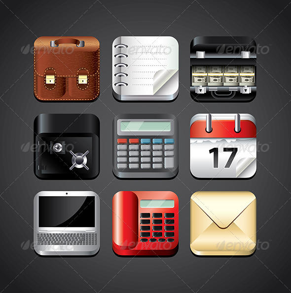 GraphicRiver Business App Icons for Mobile Devices 5453739