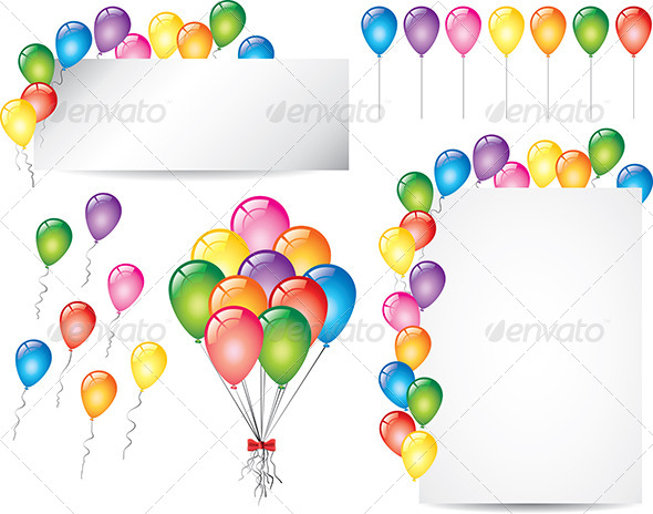 Colorful Glossy Balloons Vector Set