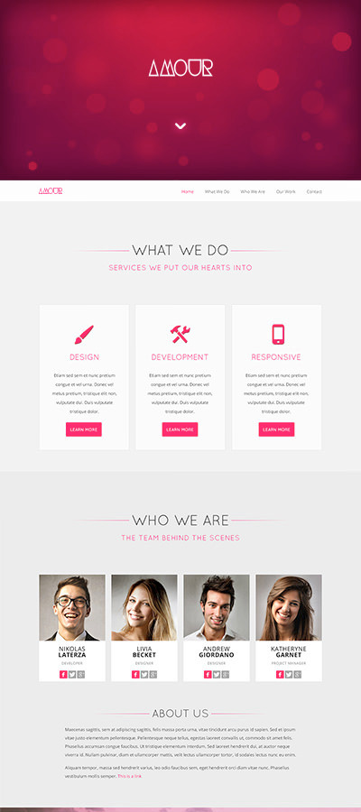 Amour - Responsive One-Page HTML Theme