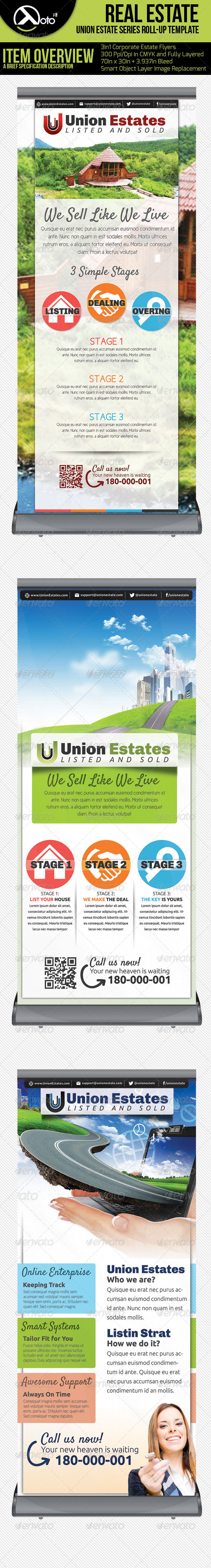3 in 1 Real Estate Roll-up Banners - Signage Print Templates