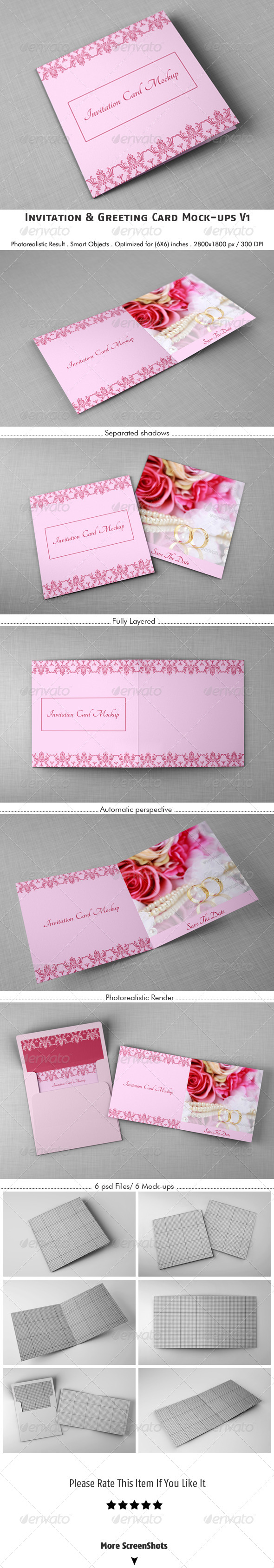 GraphicRiver Invitation & Greeting Card Mockups V1 5438572