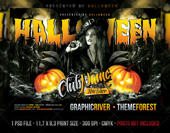 GraphicRiver Halloween Party Concert Flyer Poster 5467047