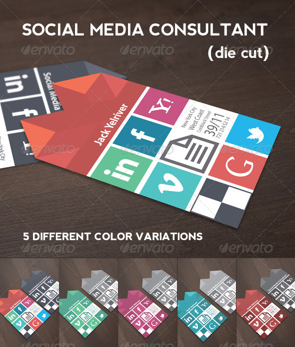 social media consultant business card graphicriver. Black Bedroom Furniture Sets. Home Design Ideas
