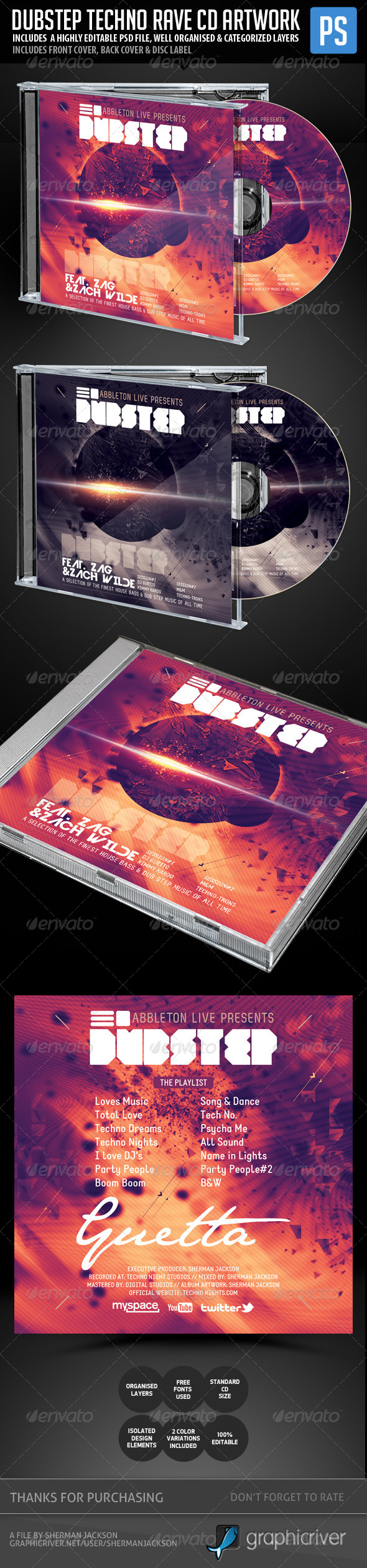 GraphicRiver Dubstep Techno Rave CD Template 5467686