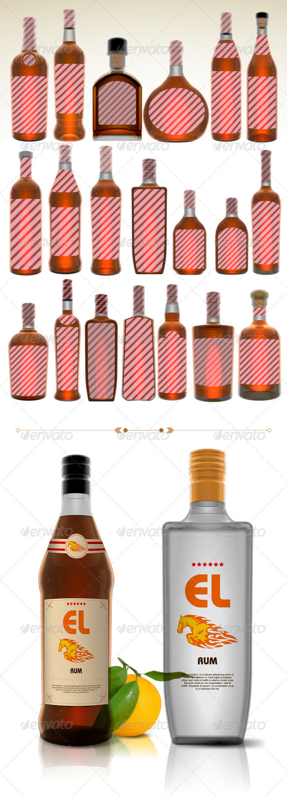 GraphicRiver 20 Rum Bottles 5441083