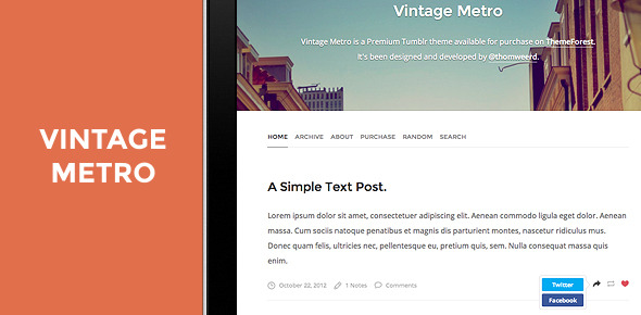 Vintage Metro — A Blog Template for Tumblr.