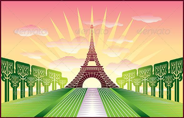 GraphicRiver Landscape with Paris Eiffel Tower 5468122