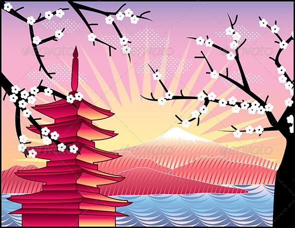 GraphicRiver Fuji Mount Sakura Tree and Pagoda 5468130