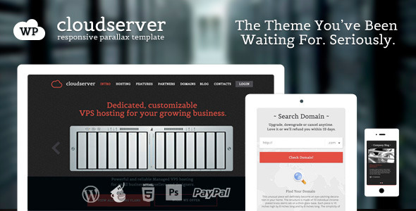 ThemeForest CloudServer One Page Responsive Hosting Theme 5468372