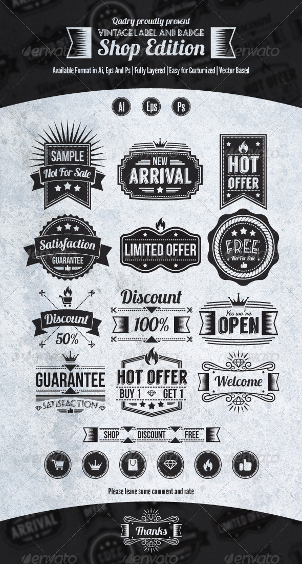 GraphicRiver 12 Vintage Label and Badge Shop Edition 5468378