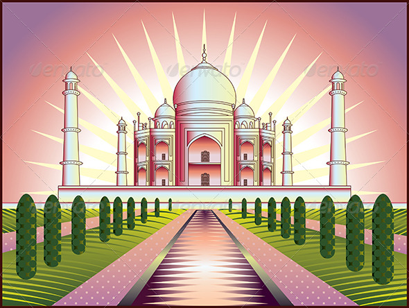 GraphicRiver Landscape with Taj Mahal in India 5468382