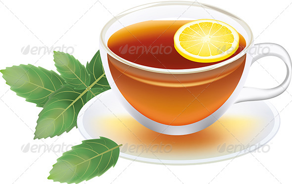 GraphicRiver Transparent Cup of Black Tea with Lemon and Mint 5468388