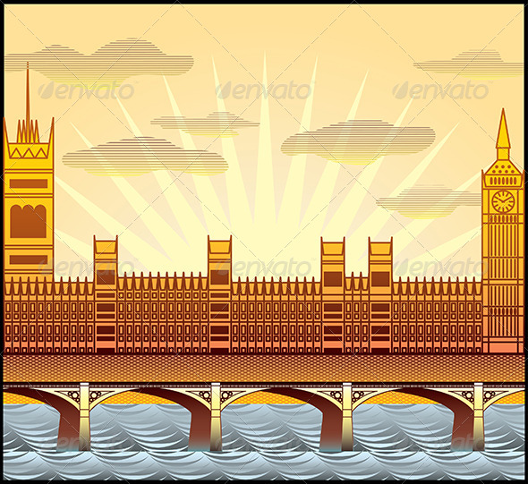 GraphicRiver Landscape with London s Big Ben Westminster Abbey 5468391