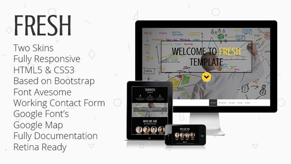 FRESH -Responsive Parallax One-Page Template - Portfolio Creative