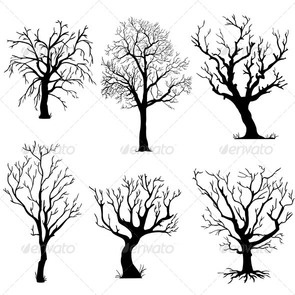 GraphicRiver Vector Set of Silhouettes of Trees 5468419