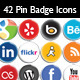 42 Vector Pin Badge Social Icons - GraphicRiver Item for Sale