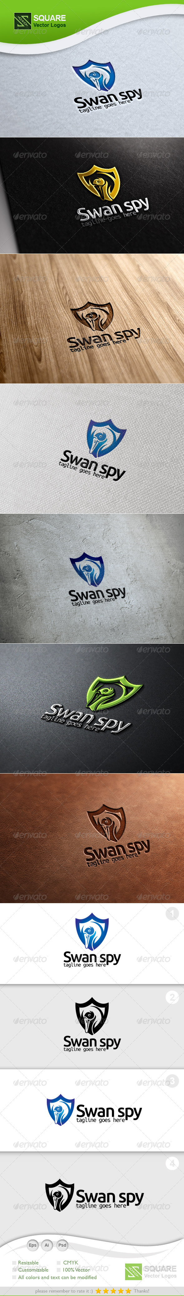 Swan, Shield Vector Logo Template - Animals Logo Templates