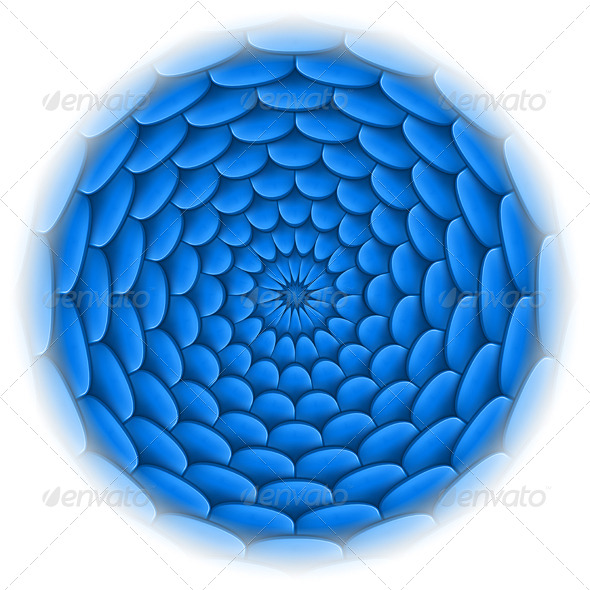 GraphicRiver Circle with Roof Tile Pattern in Blue 5468625