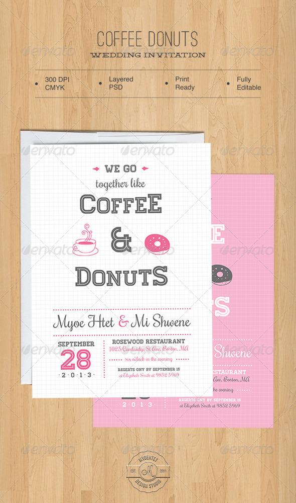 GraphicRiver Coffee Donuts Wedding Invitation 5468662