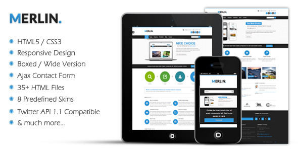 Merlin - Responsive HTML5 Template - Creative Site Templates