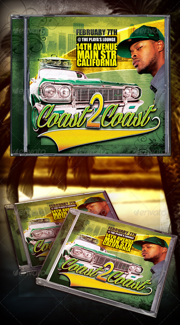 Coast 2 Coast Mixtape/CD Template - CD & DVD Artwork Print Templates