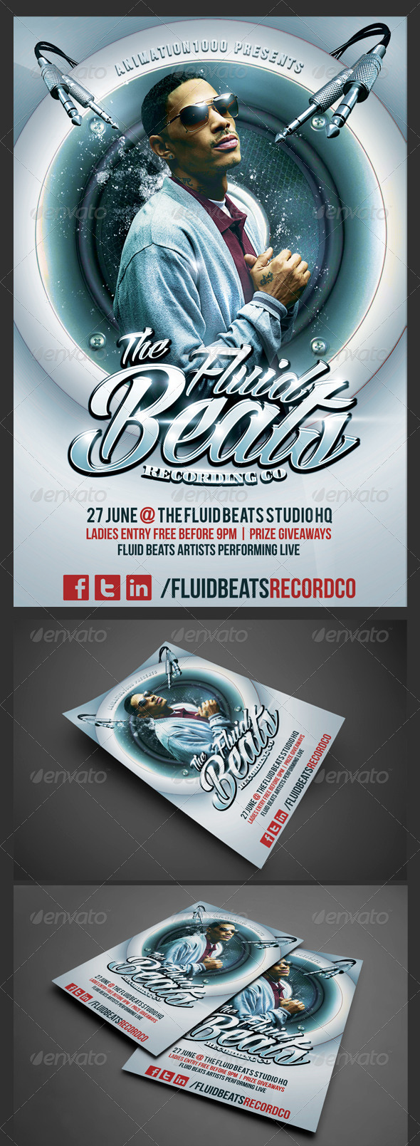 GraphicRiver Fluid Beats Flyer Template 5469700