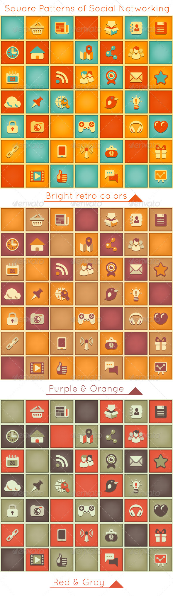 GraphicRiver Square Pattern of Social Networking in Retro Color 5470777