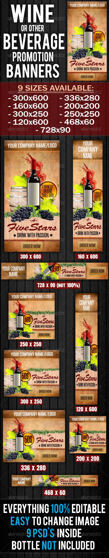 GraphicRiver Wine & Beverages Promotion Banner 5470816
