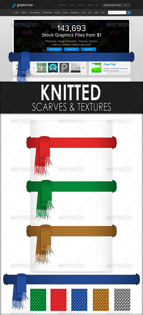 GraphicRiver Knitted Scarves and Texture of Knitted Canvas 5471055