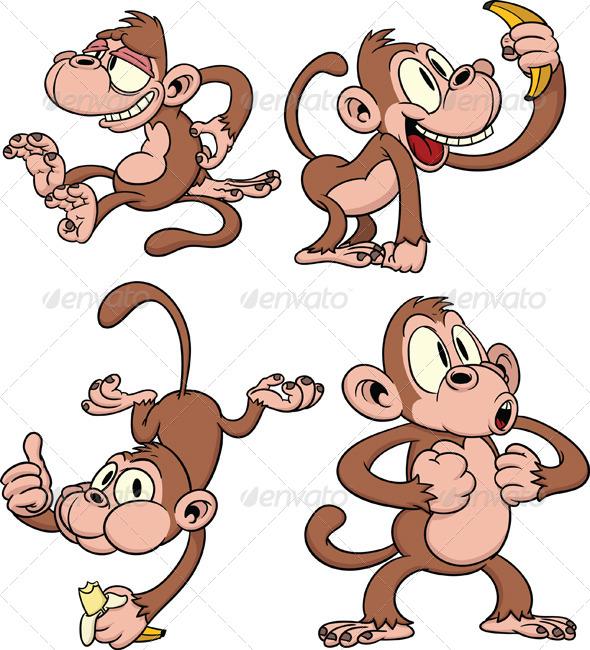 GraphicRiver Cartoon Monkeys 5471166