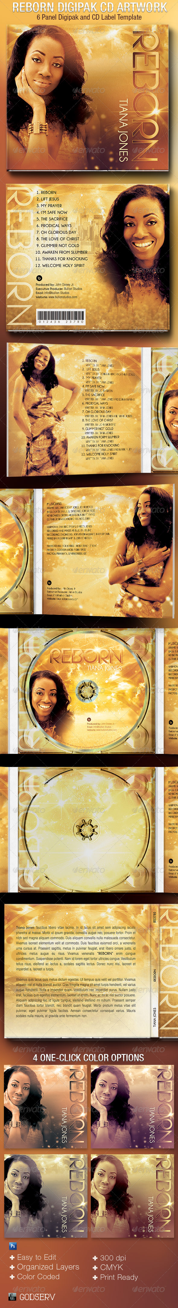 Reborn 6 Panel Digipak CD Artwork Template - CD & DVD Artwork Print Templates