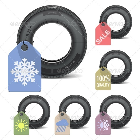 GraphicRiver Vector Season Tire Sale 5472448