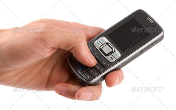 Mobile Phone in a Hand - Stock Photo - Images