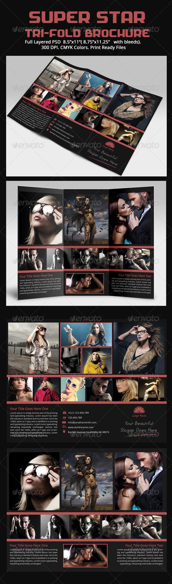 Super Star Tri-Fold Brochure Templates - Brochures Print Templates