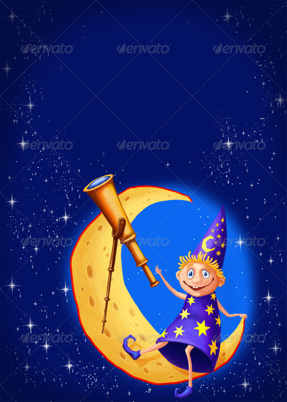 Astrologer with a telescope on the moon - Abstract Illustrations